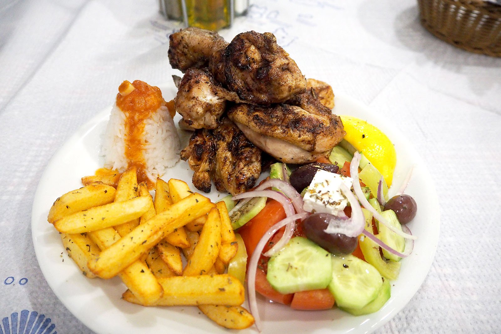grilled chicken at Fira in Santorini