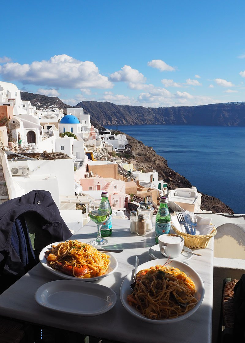 lunch with a view, Santorini • The Petite Wanderess