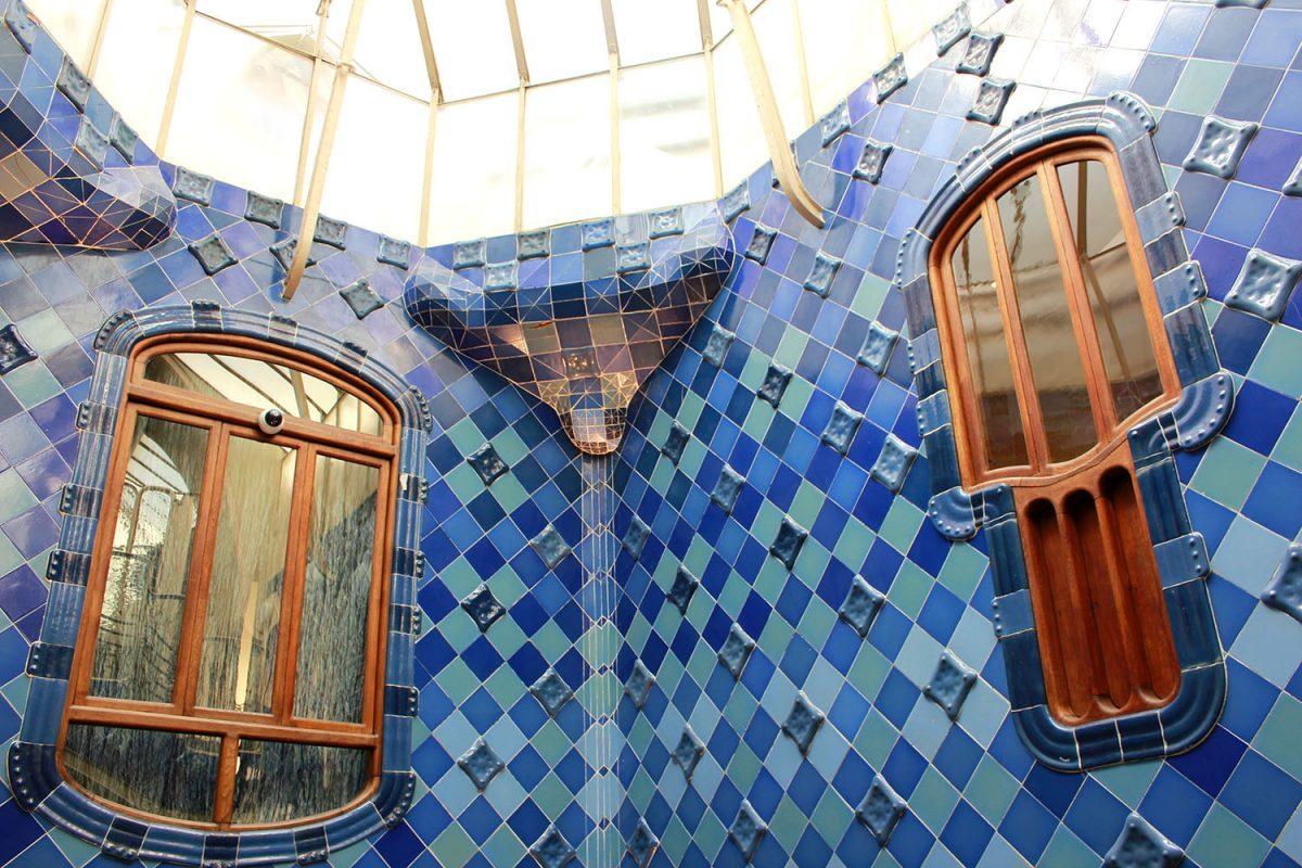 blue tiles at Casa Batllo, Barcelona