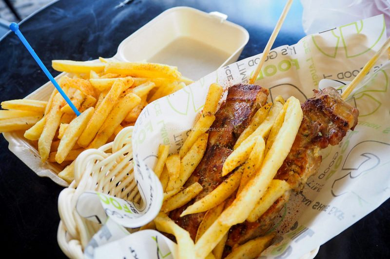 grilled skewers & fries | Santorini in January during winter – Solo Travel Guide • The Petite Wanderess