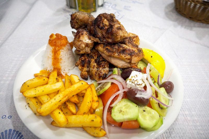grilled chicken set | Santorini in January during winter – Solo Travel Guide • The Petite Wanderess