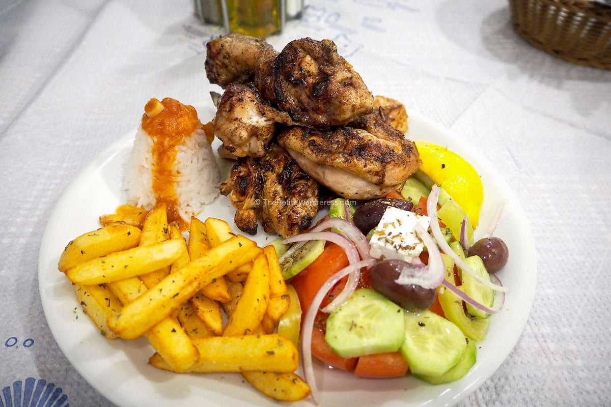 grilled chicken set | Santorini in January – Solo Travel Guide • The Petite Wanderess