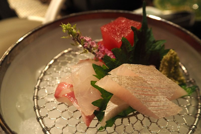 sashimi of sea bream, tuna, & greater amberjack with Japanese horseradish & special soy sauce