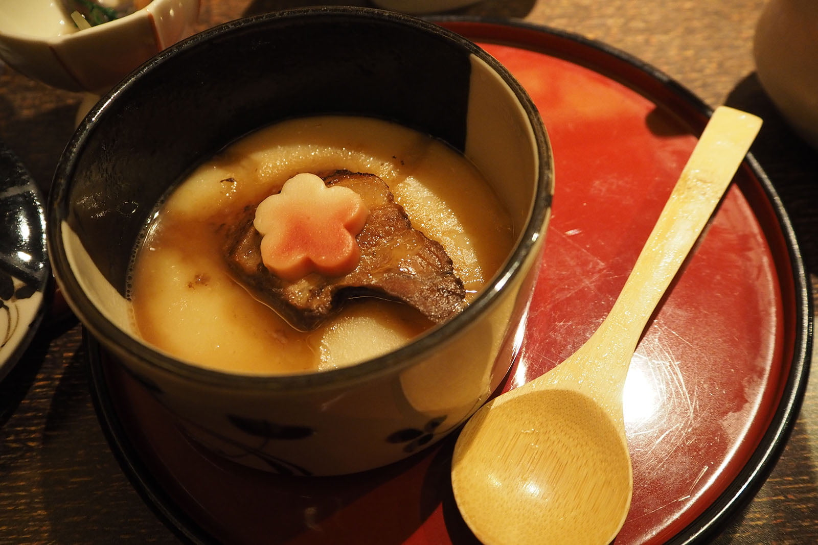 specialty Buta-kaku-ni (stewed diced pork) stewed in special soup (made of sake, mirin, soy sauce, suga,r green onion, ginger, sea tangle, bonito), matched with potato puree
