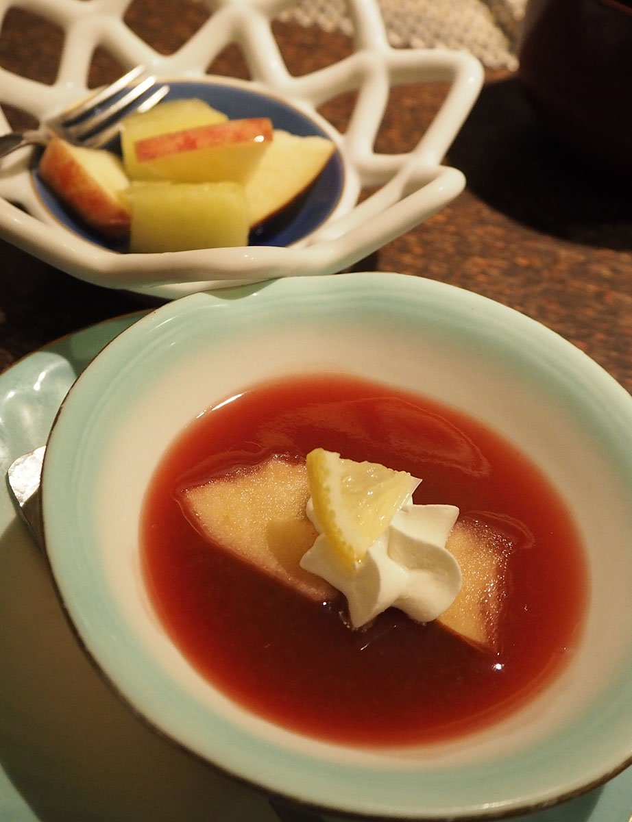 dessert: gelee of acai and blood orange with fresh cream