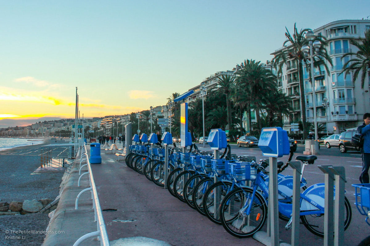 bicycles for rent at Promenade des Anglais | Things to Do in Nice • The Petite Wanderess