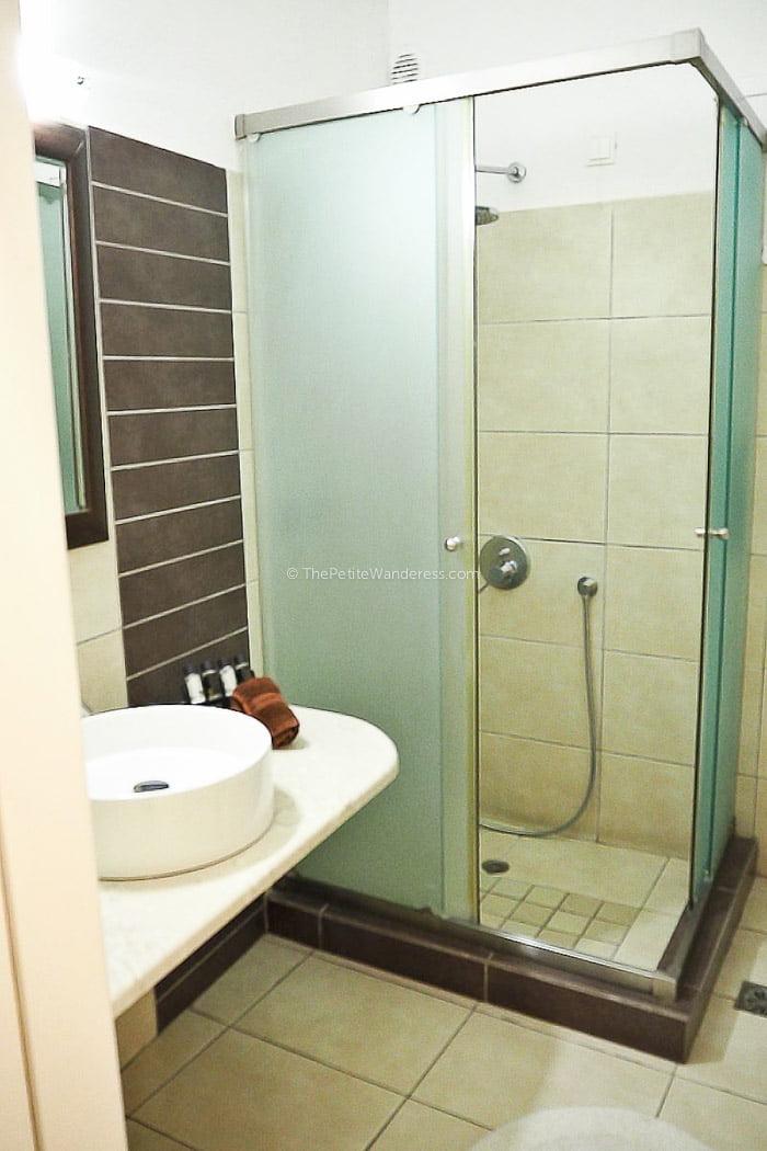 bathroom | Review: Dream Island Hotel, Fira, Santorini • The Petite Wanderess