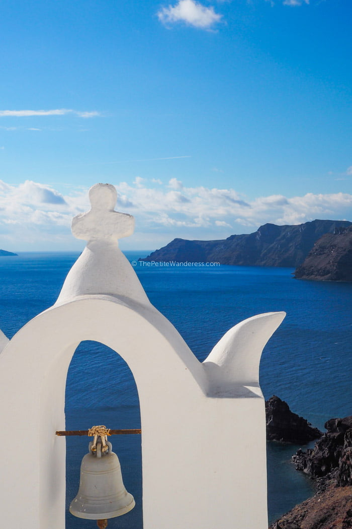 chapel at Oia | Santorini in shades of blue & white • The Petite Wanderess