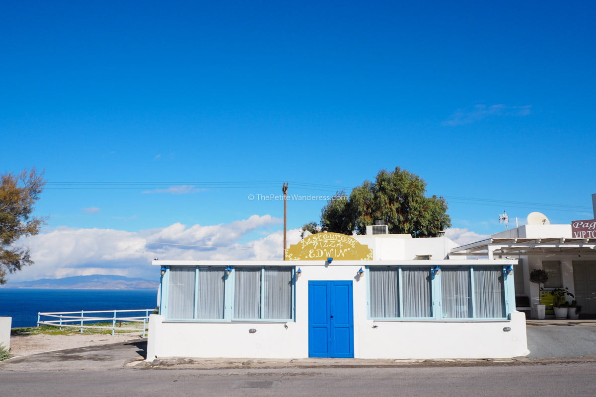closed shop at Fira | Santorini in shades of blue & white • The Petite Wanderess