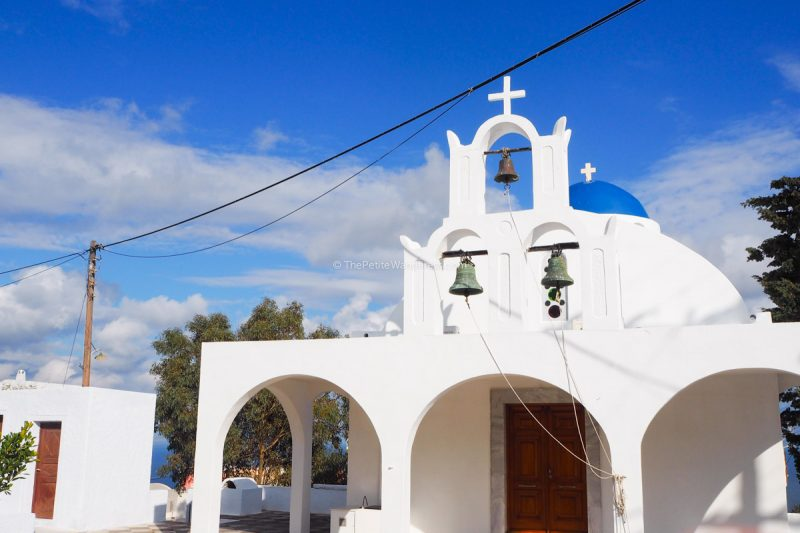 church at Imerovigli | Santorini in shades of blue & white • The Petite Wanderess