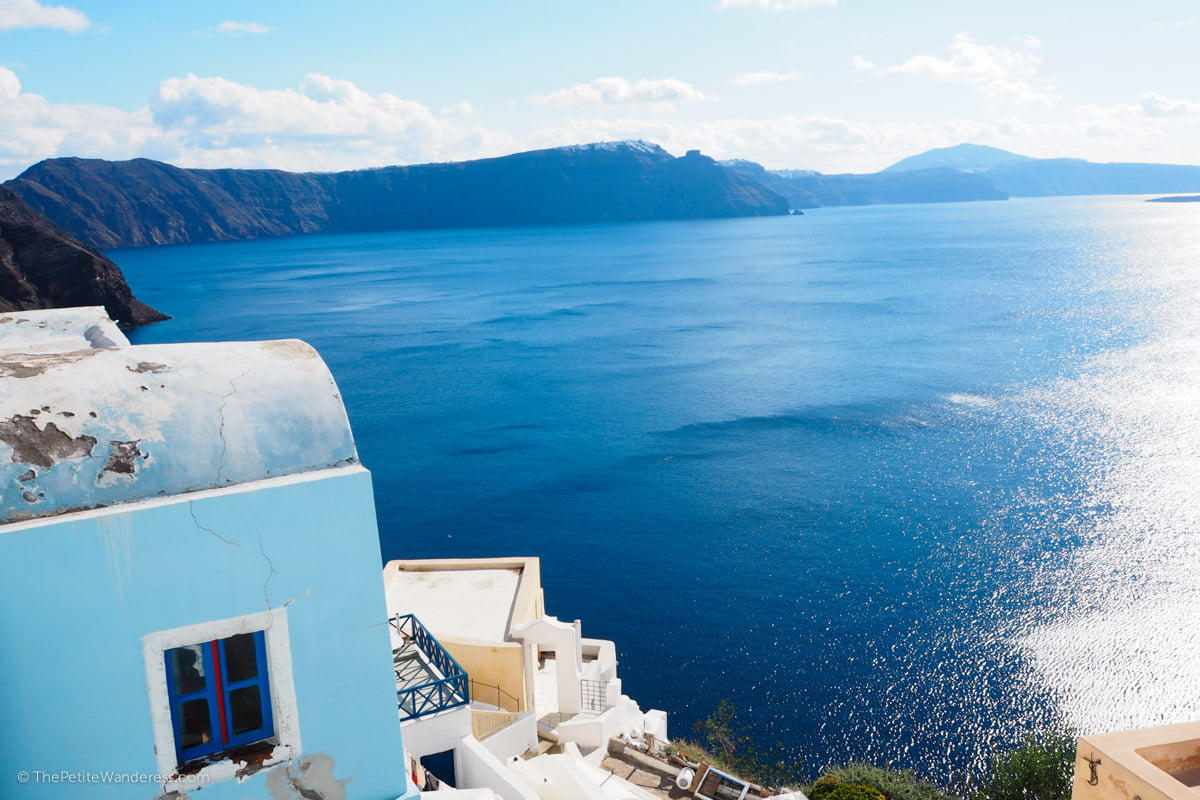 sea view at Oia | Santorini in shades of blue & white • The Petite Wanderess
