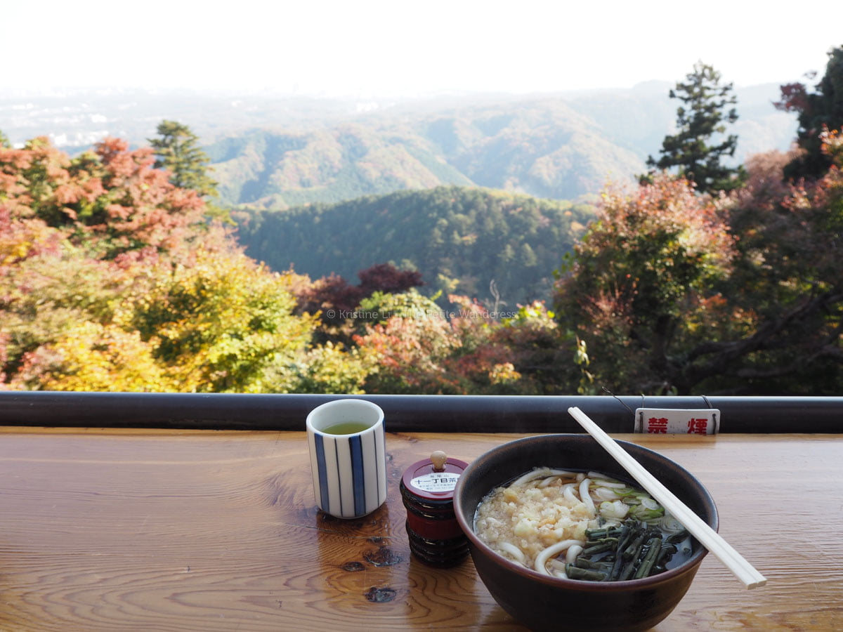 udon lunch at Mount Takao