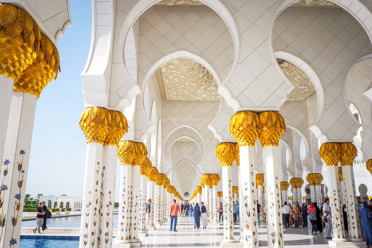 columns | Sheikh Zayed Grand Mosque, Abu Dhabi • The Petite Wanderess