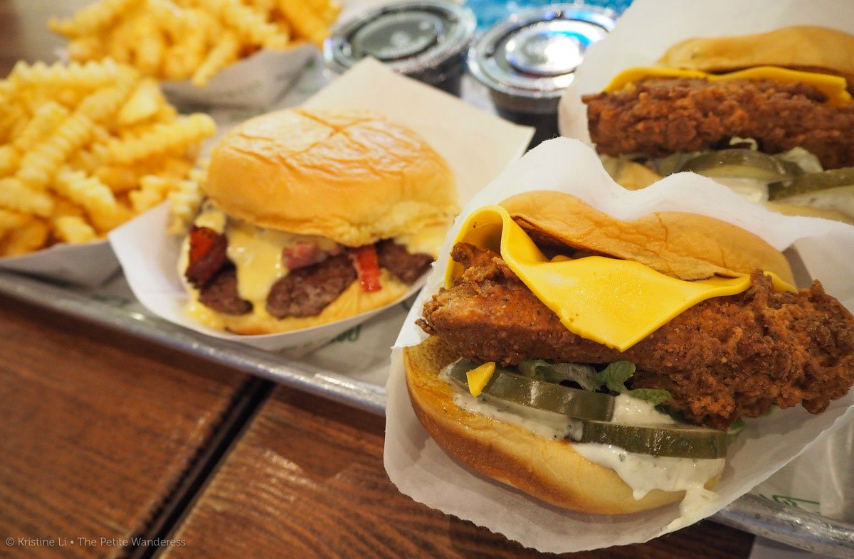 Shake Shack! At Mall of the Emirates. Each burger ranges from AED 26 to 42. Seperate pricing for fries and drinks.
