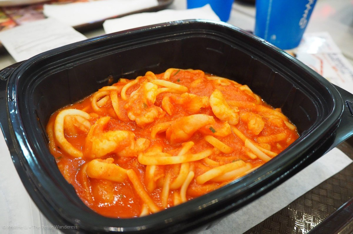 marinara pasta from food court at Dubai Mall (they serve them in plastic, disposable containers). It was less than S$20.