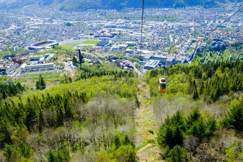cable car up Mt Ulriken | Hiking Mt Ulriken in Bergen • The Petite Wanderess