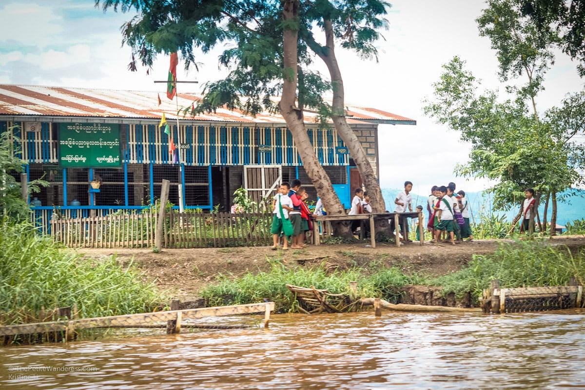 school-children along Inle Lake, Myanmar • The Petite Wanderess