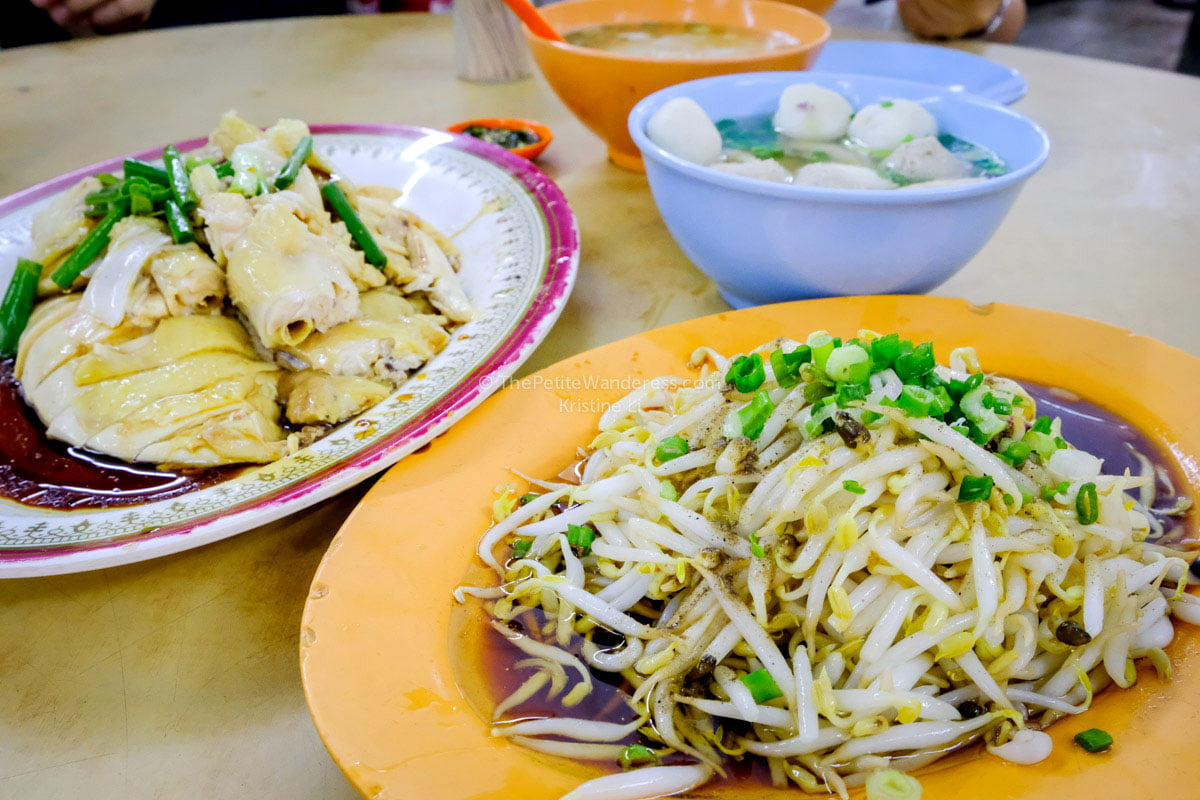 "taugeh (beansprouts) and chicken, with kuaytiao. The beansprouts are fat, crunchy and only available in Ipoh. The kuaytiao was very ""q q"" - chewy 