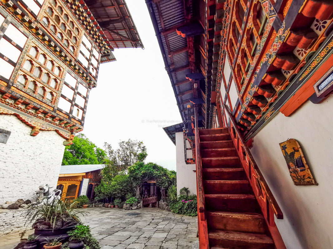 Gangtey Palace Hotel compounds, staircase leading to rooms | All Your First-World Questions about a Bhutan Trip, Answered! • The Petite Wanderess