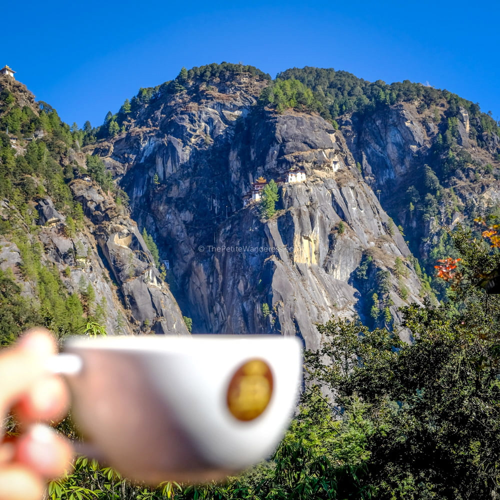 coffee at cafeteria | Hike to Tiger's Nest, Bhutan • The Petite Wanderess