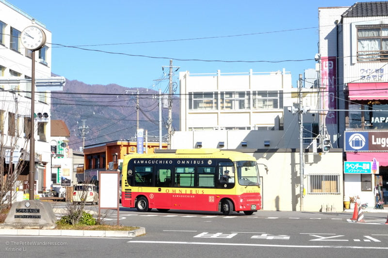 sightseeing retro bus arriving at Kawaguchiko Station | Things to do in Kawaguchiko, Japan • The Petite Wanderess
