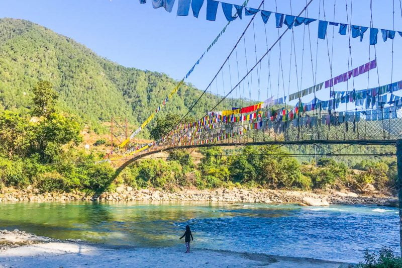 suspension bridge, Punakha | Rafting in Punakha, Bhutan • The Petite Wanderess